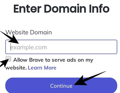 اضافة موقع الكترونى الى متصفح بريف brave برنامج الناشرين الخطوة 3