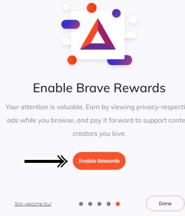 تفعيل brave rewards فى متصفح brave