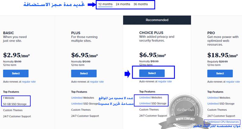 تحديد خطة الاستضافة المناسبة عند شراء استضافة بلوهوست